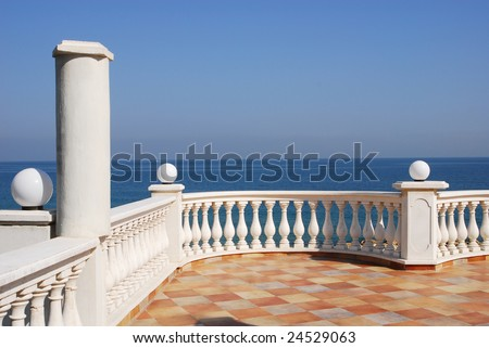 View to the sea from a balcony of hotel - stock photo