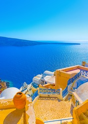 View to the sea from a typical traditional house of Oia the most beautiful village of Santorini island in Greece