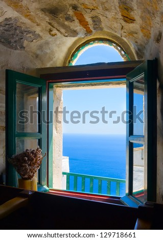 view to the sea from an open...