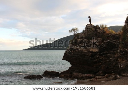 View to the seashore with the syrena on the hill Zdjęcia stock ©