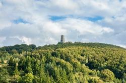 View to the Shipka Monument, Balkan Mountains, Bulgarka Nature Park, Bulgaria.
