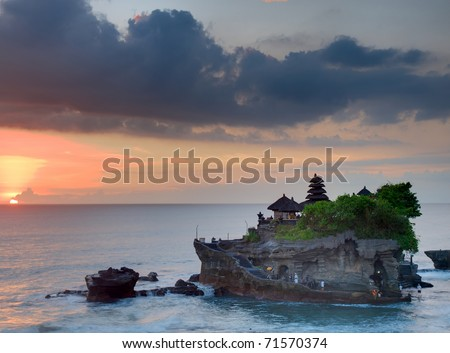 View to the Tanah Lot temple in sunset. Bali island, indonesia