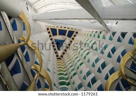 View to the top of the lobby in the Burj al Arab, the tallest hotel lobby in the world