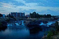View to Upper Falls of the Spokane river in Spokane / Washington