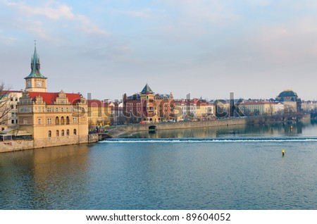 View to Vltava river and Smetanovo Nabrezi from Charles Bridge, Prague