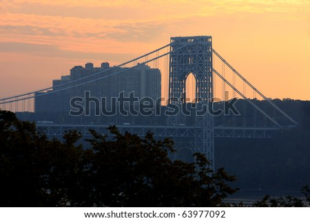 View to Washington bridge connecting New York and New Jersey at sunset