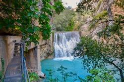 View to waterfall in Pasarelas del Vero (Footbridges on the Vero River), Alquezar, Aragon, Spain