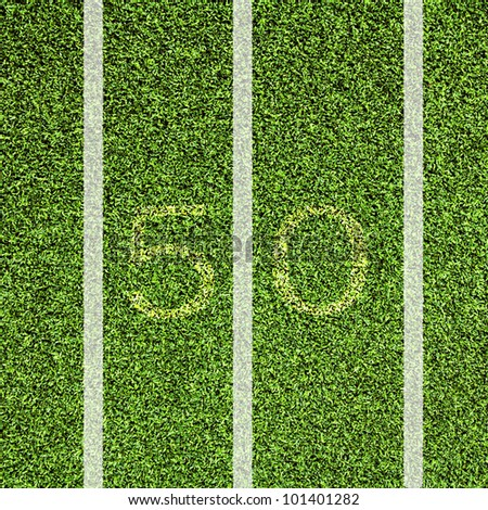 View top of 50 yard line on American football field.