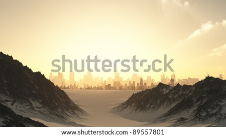 View towards a futuristic sci-fi city at sunset through a mountain pass covered by winter snow, 3d digitally rendered illustration