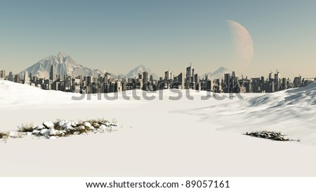 View towards a futuristic sci-fi city covered by winter snow, 3d digitally rendered illustration