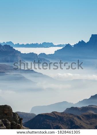 View towards Antelao, Pelmo, Italy. Civetta seen from Sella mountain range (Gruppo del Sella) in the dolomites. Part of the UNESCO World Heritage Site. Stok fotoğraf ©