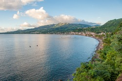 View towards Mount Pelée and Saint-Pierre in Martinique. Martinique is a French island located in the Lesser Antilles in the eastern Carribean Sea.