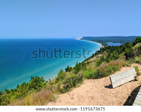 View towards Sleeping Bear Point from Empire Bluff in Sleeping Bear Dunes National Lakeshore. South Manitou Island and South Bar Lake are both in view.