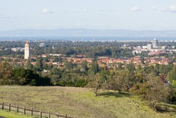 View towards Stanford campus and Hoover tower, Palo Alto and Silicon Valley from the Stanford dish hills, California