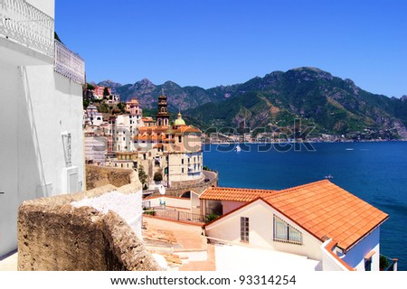 View towards the coastal town of Atrani on the Amalfi coast of Italy