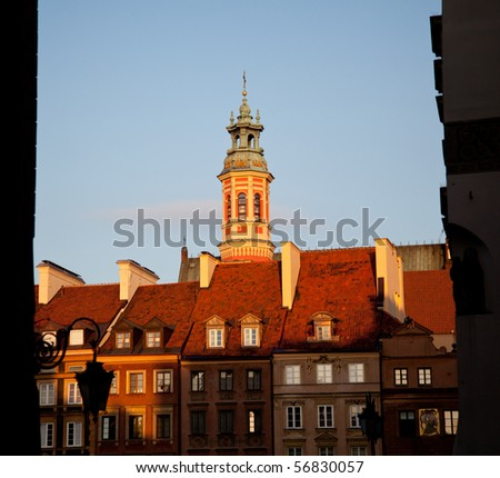 View towards the old town of Warsaw in Poland showing the multi colored houses and churches