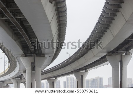 view under the grey briage in the city #538793611