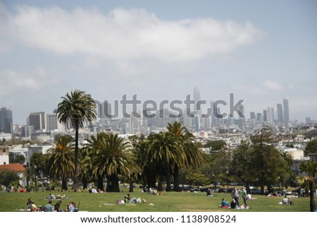 View with the city and park from Mission Dolores Park in San Fransicso