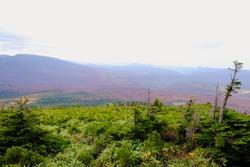 Viewed of tree infront mountainous range with red  in Aomori Tohoku Japan, the Jogakura area near Jogakura bridge at Japan.