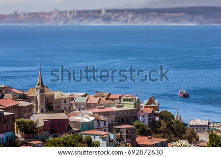 Shutterstock Viewed on Cerro Concepcion, Valparaiso historic World Heritage of UNESCO, with Pacific Ocean and Viña del Mar in background