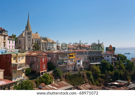 Viewed on Cerro Concepcion, Valparaiso historic World Heritage of UNESCO, with Pacific Ocean in background