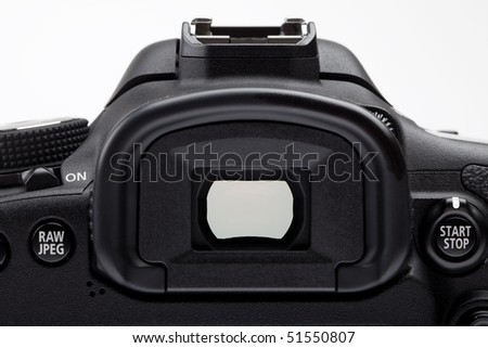 Viewfinder of digital SLR camera - stock photo
