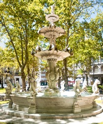 Viewing of impressive fountain at cathedral square in Montevideo in Uruguay