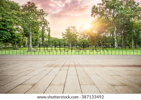 viewing platform and park at sunset #387133492