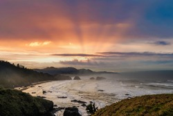 Viewof sunrise  from Ecola State park looking south at Canon Beach