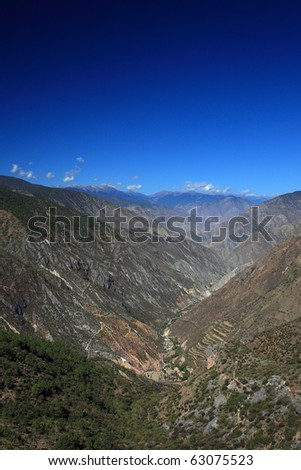 Viewpoint of beautiful small mountain village in Shangri-La gorge. Yunnan province China.