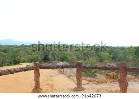 Viewpoint of Rock formations place, Phae Muang Phi in the small cloud blue sky, unseen in thailand - stock photo