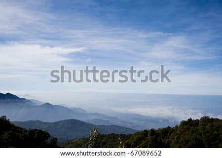 Viewpoint on Inthanon Mountain,Chiang Mai Thailand