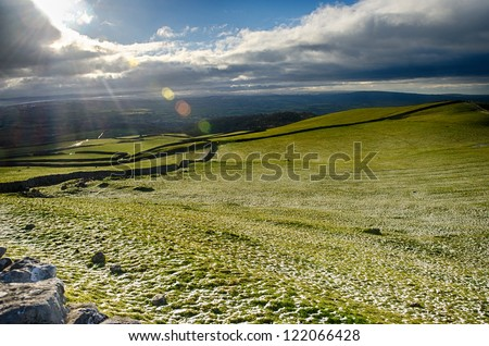 Views across Winter farmland at Ingleton Falls, UK