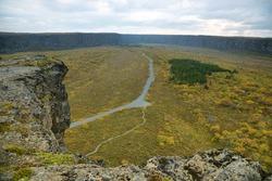 Views from Eyjan rock in Asbyrgi. Asbyrgi is a horseshoe-shaped canyon in Jokulsargljufur national park, Iceland.