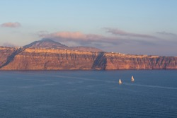 Views from Palea Kameni, volcanic islands near Santorini