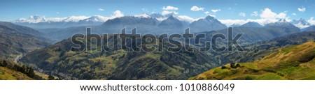 "Views of Black mountain range ""Cordillera negra"" from Wilcacocha lagoon, Peru #1010886049"