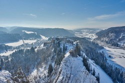 Views of Chateau de Joux Covered In Snow - La Cluse et Mijoux - France