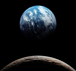 Views of Earth from the moon surface. Elements of this image furnished by NASA.