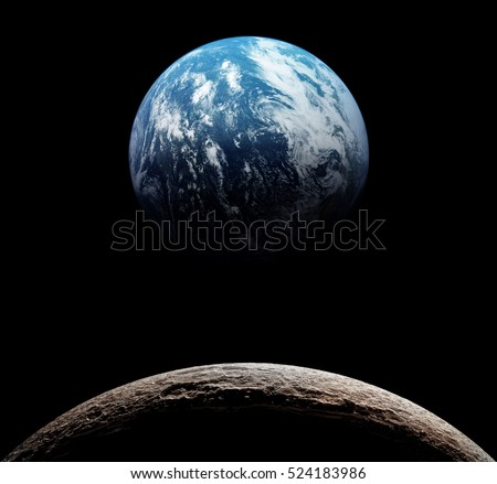 Stock Photo Views of Earth from the moon surface. Elements of this image furnished by NASA.