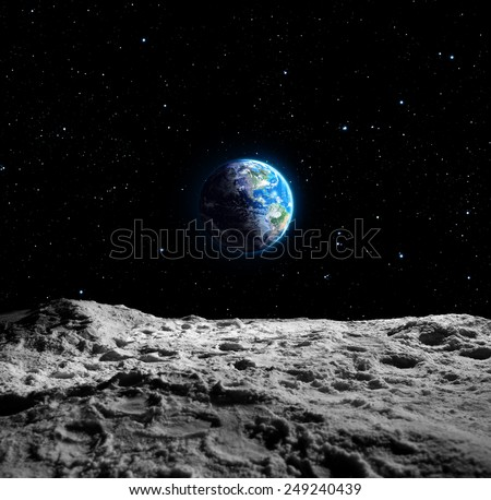 Views of Earth from the moon surface - Usa map furnished by NASA stock photo