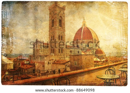 views of Florence in vintage style