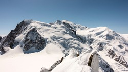 Views of Mont Blanc from last meters of Cosmiques ridge, in Aiguille du Midi.