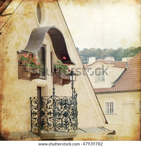 views of old part of Prague, from Charles bridge, made in retro style. architectural detail