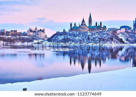 Views of Ottawa, Canada during snow storm in winter during daytime #1123774649