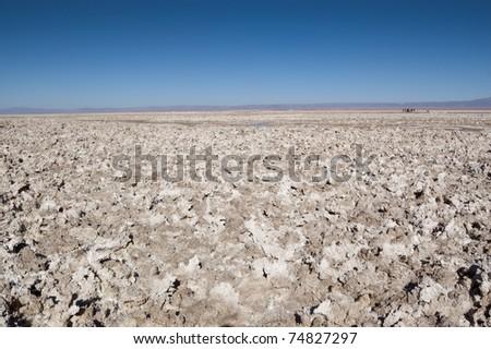 Views of Salar de Atacama, the largest salt flat in Chile - stock photo