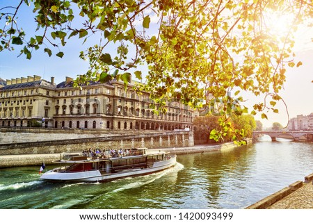 Views of Seine river in Paris, France, travel Europe Stock photo ©