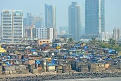 Views of slums on the shores of mumbai, India