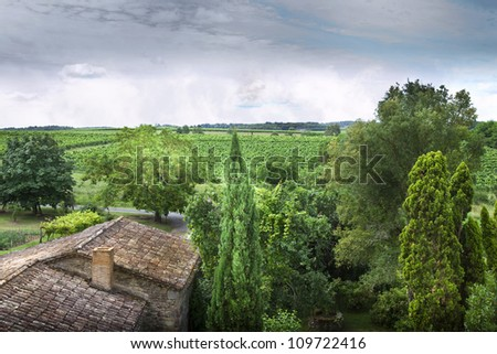 Views of the countryside and vineyards in a French village near Bordeaux