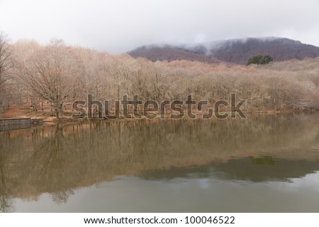 Views of the lake and the forest of Montseny Natural Park, Barcelona