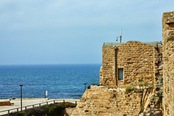 Views of the Mediterranean Sea and the Visitor Center in Caesarea Seaside National Park.